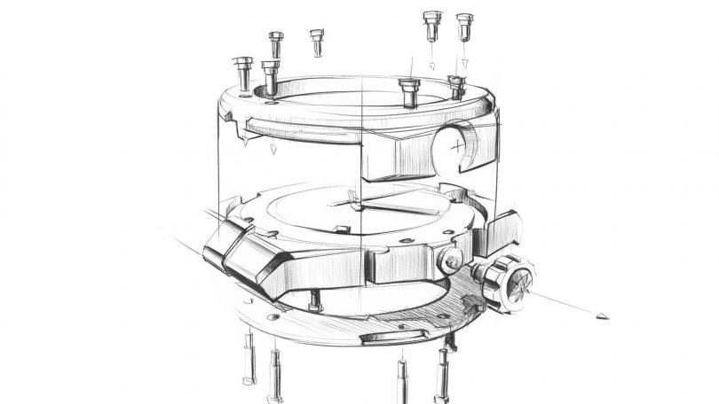 Technische Zeichnung der Gheäusekomponenten der Alpine Eagle von Chopard