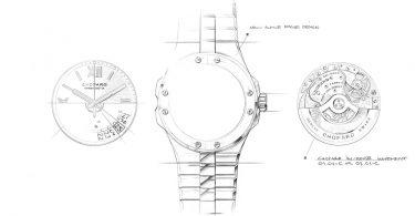 Technische Zeichnung von Zifferblatt, Gehäuse und werk der Alpine Eagle von Chopard
