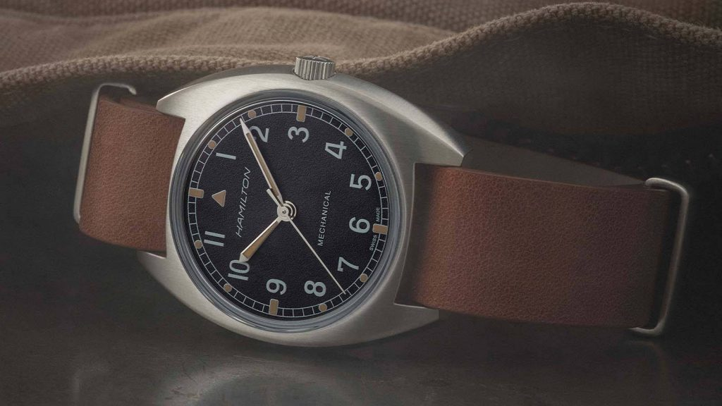 Nato-Lederband der Vintage Fliegeruhr Khaki Pilot von Hamilton