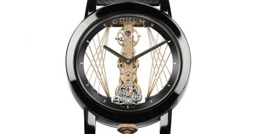 Detailansicht der Corum Golden Bridge 43 Art Deco mit DLC-beschichtetem Titan Grad 5