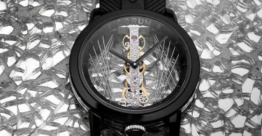 Corum Golden Bridge 43 Art Deco mit DLC-beschichtetem Titan Grad 5 Header