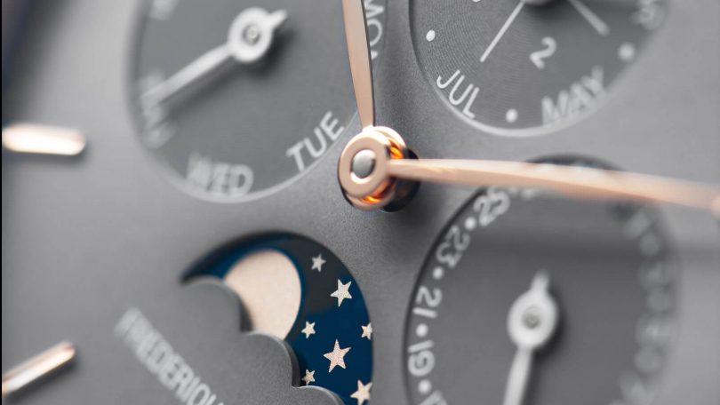 Detailansicht des Zifferblatts der FREDERIQUE CONSTANT Slimline Perpetual Calendar Manufacture